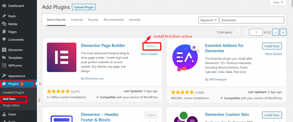 Install page builder plugin to make a blog