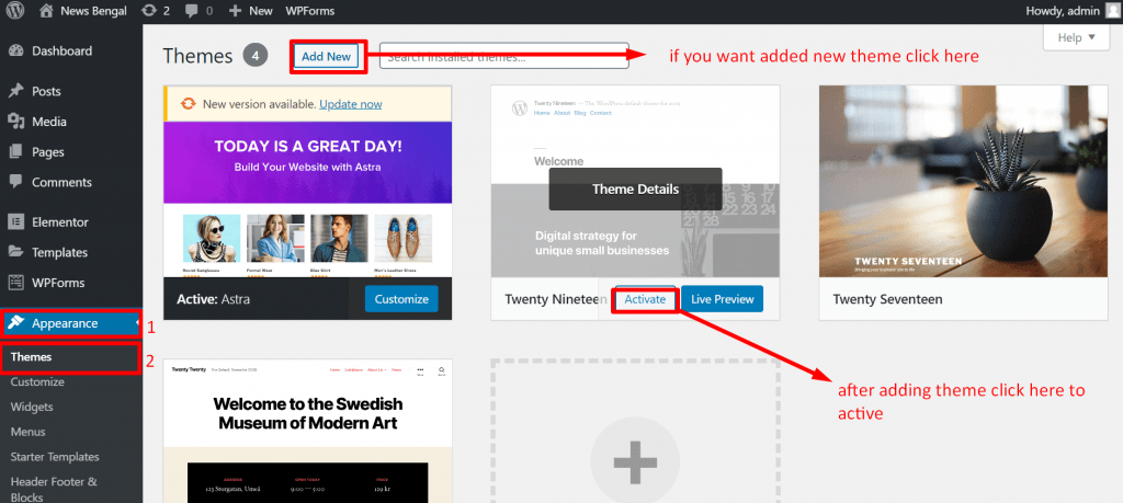 How to install WordPress theme and start blogging
