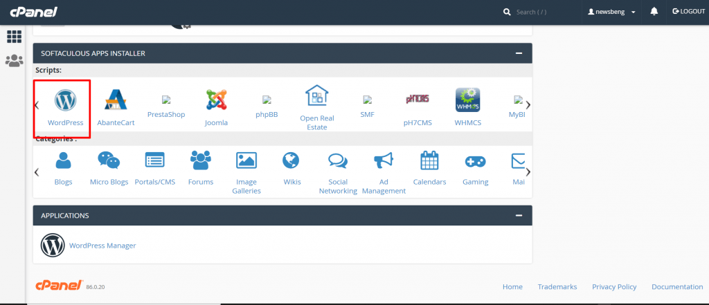 How to find wordPress from cPanel for starting blog