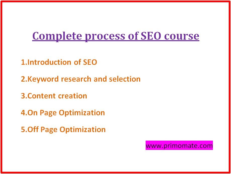 complete proccess of free seo course