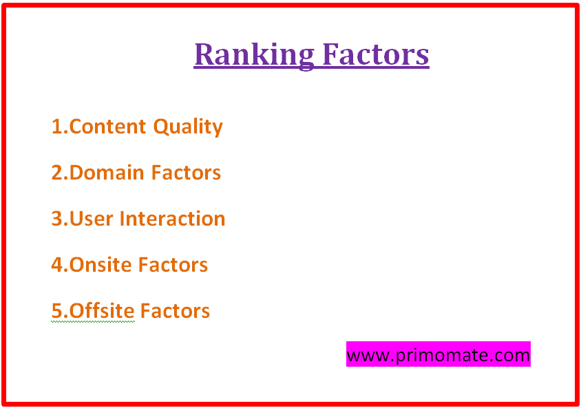 Ranking Factors -free seo course