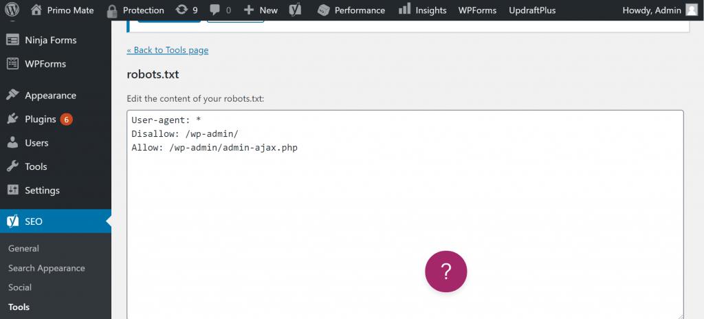 robots.txt file editor