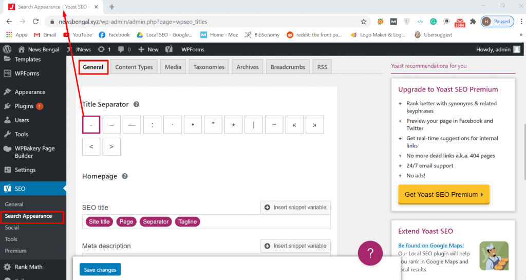 yoast search appearance