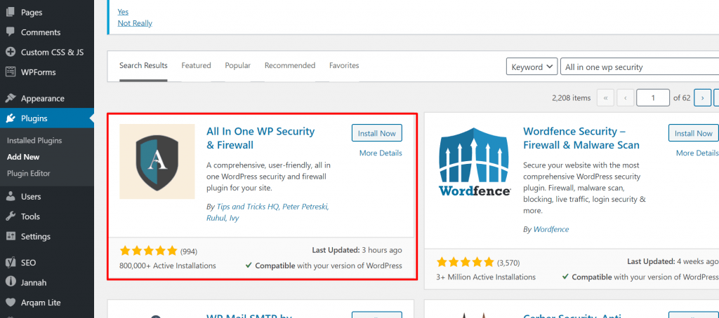 how to activate all in one wp security plugin to secure wordpress website